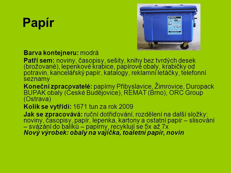 Papír Barva kontejneru: modrá Patří sem: noviny, časopisy, sešity, knihy bez tvrdých desek (brožované), lepenkové krabice, papírové obaly, krabičky od