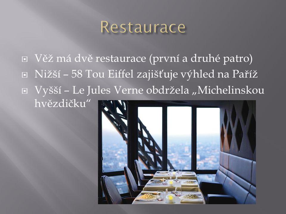 """ Věž má dvě restaurace (první a druhé patro)  Nižší – 58 Tou Eiffel zajišťuje výhled na Paříž  Vyšší – Le Jules Verne obdržela """"Michelinskou hvězdi"""