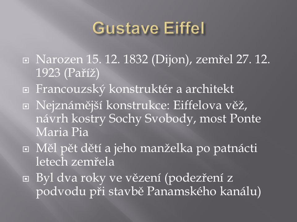  Narozen 15. 12. 1832 (Dijon), zemřel 27. 12. 1923 (Paříž)  Francouzský konstruktér a architekt  Nejznámější konstrukce: Eiffelova věž, návrh kostr