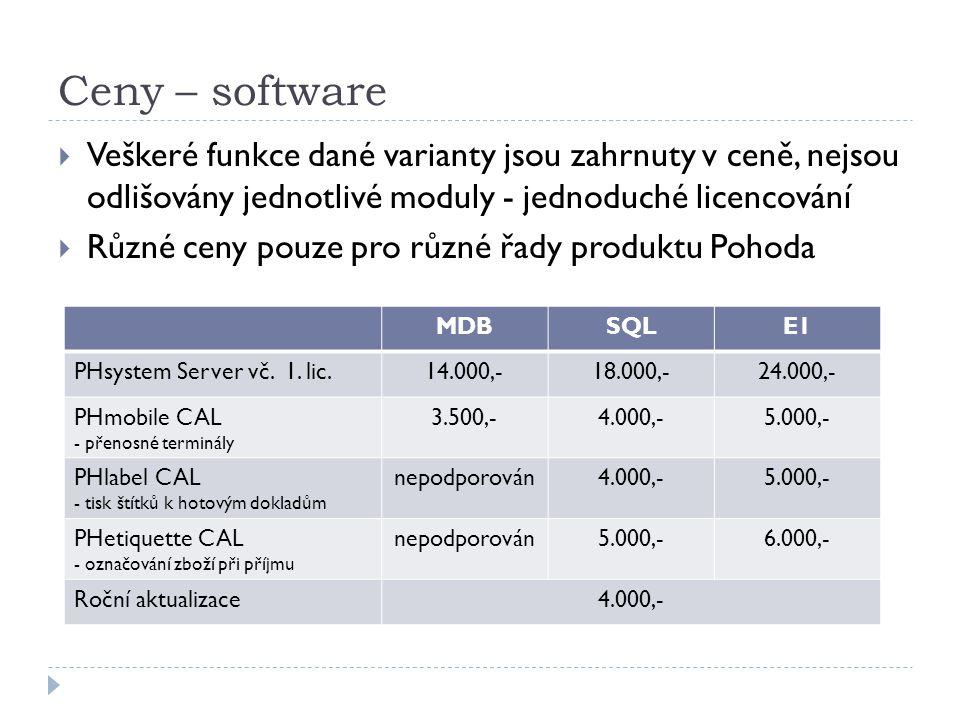 Ceny – software  Veškeré funkce dané varianty jsou zahrnuty v ceně, nejsou odlišovány jednotlivé moduly - jednoduché licencování  Různé ceny pouze pro různé řady produktu Pohoda MDBSQLE1 PHsystem Server vč.
