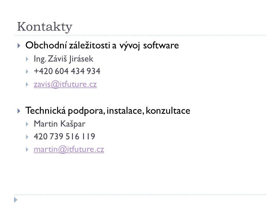 Kontakty  Obchodní záležitosti a vývoj software  Ing.