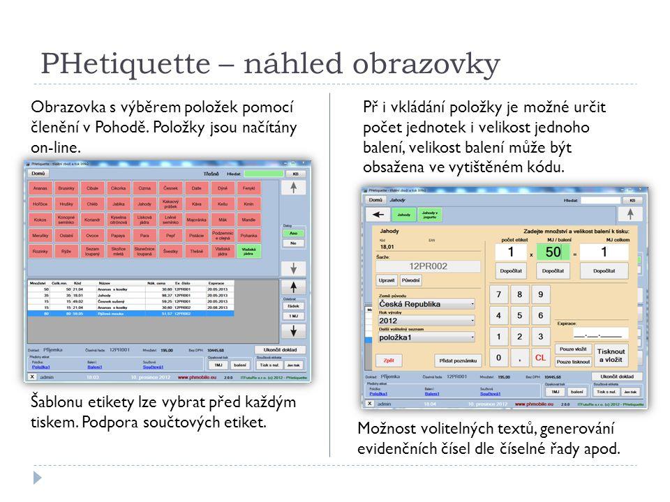 PHetiquette – náhled obrazovky Obrazovka s výběrem položek pomocí členění v Pohodě.