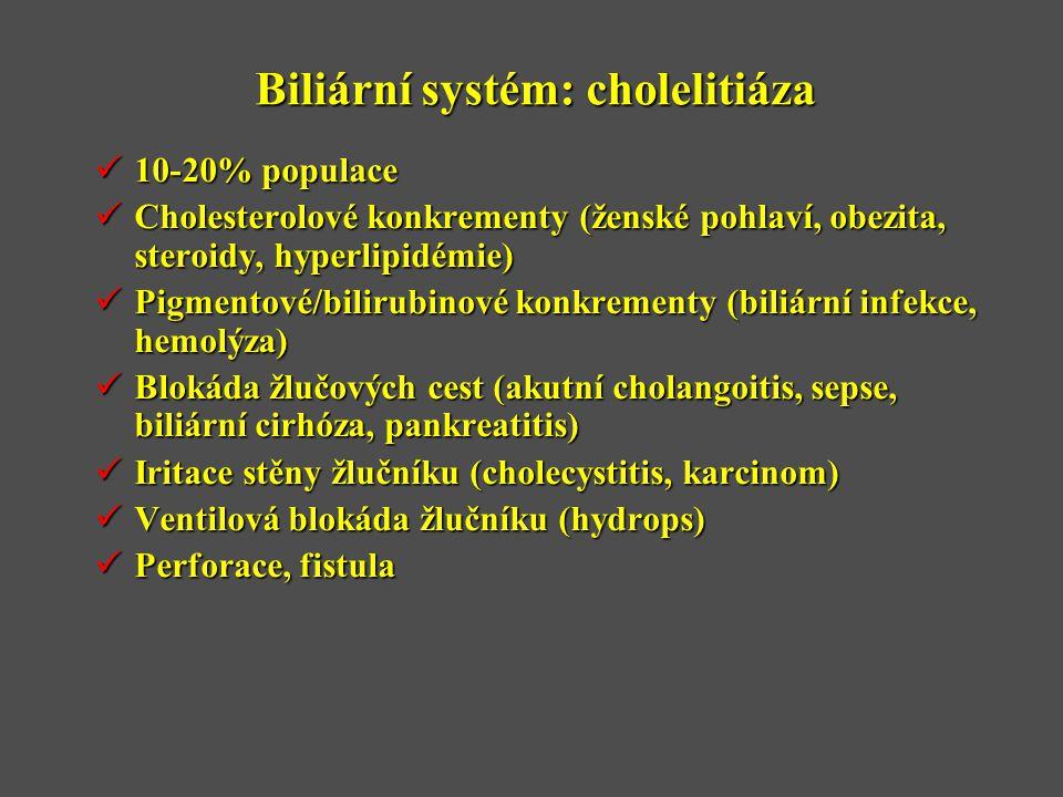 Biliární systém: cholelitiáza  10-20% populace  Cholesterolové konkrementy (ženské pohlaví, obezita, steroidy, hyperlipidémie)  Pigmentové/bilirubinové konkrementy (biliární infekce, hemolýza)  Blokáda žlučových cest (akutní cholangoitis, sepse, biliární cirhóza, pankreatitis)  Iritace stěny žlučníku (cholecystitis, karcinom)  Ventilová blokáda žlučníku (hydrops)  Perforace, fistula