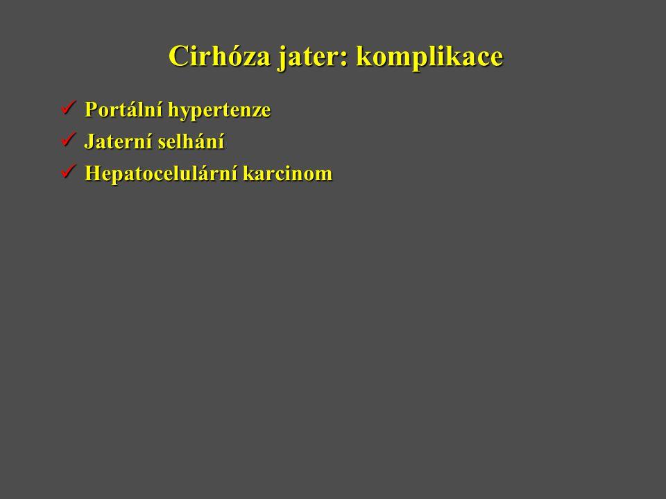 Cirhóza jater: komplikace  Portální hypertenze  Jaterní selhání  Hepatocelulární karcinom