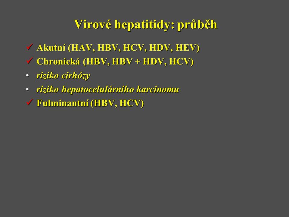Virové hepatitidy: průběh  Akutní (HAV, HBV, HCV, HDV, HEV)  Chronická (HBV, HBV + HDV, HCV) •riziko cirhózy •riziko hepatocelulárního karcinomu  Fulminantní (HBV, HCV)