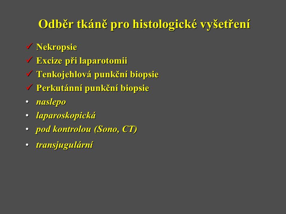 Odběr tkáně pro histologické vyšetření  Nekropsie  Excize při laparotomii  Tenkojehlová punkční biopsie  Perkutánní punkční biopsie •naslepo •laparoskopická •pod kontrolou (Sono, CT) •transjugulární