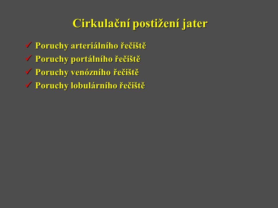 Cirkulační postižení jater  Poruchy arteriálního řečiště  Poruchy portálního řečiště  Poruchy venózního řečiště  Poruchy lobulárního řečiště
