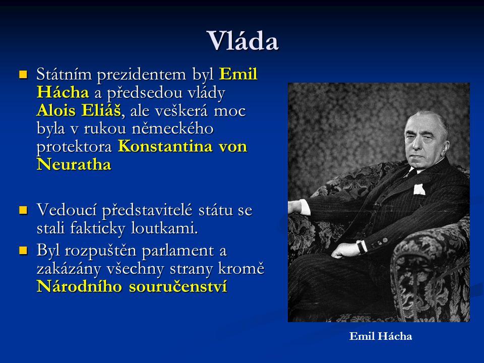 Vláda  Státním prezidentem byl Emil Hácha a předsedou vlády Alois Eliáš, ale veškerá moc byla v rukou německého protektora Konstantina von Neuratha  Vedoucí představitelé státu se stali fakticky loutkami.