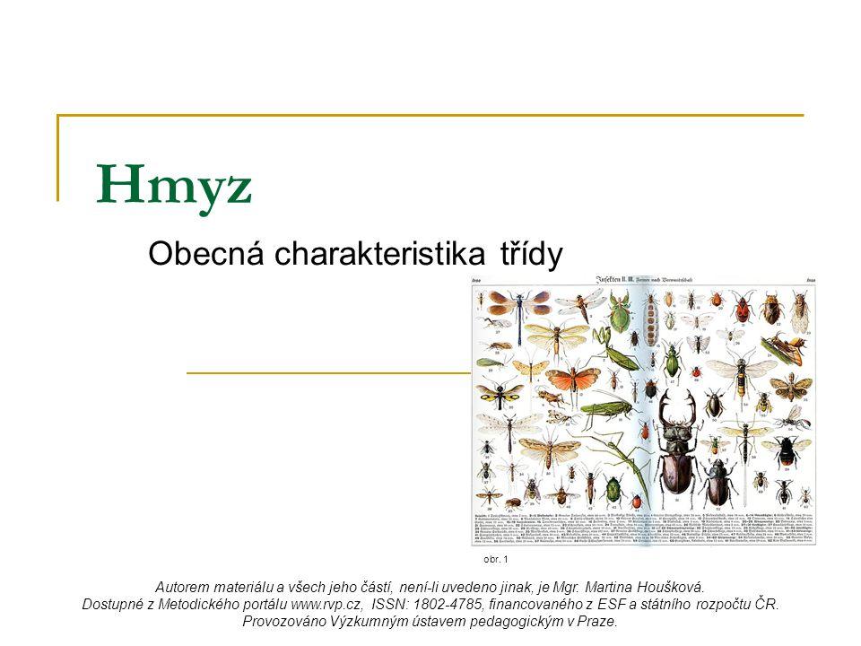 Hmyz Obecná charakteristika třídy obr. 1 Autorem materiálu a všech jeho částí, není-li uvedeno jinak, je Mgr. Martina Houšková. Dostupné z Metodického