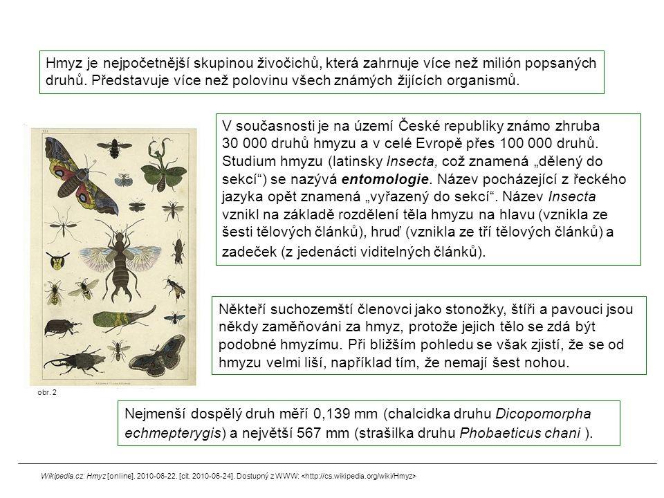 Hmyz je nejpočetnější skupinou živočichů, která zahrnuje více než milión popsaných druhů. Představuje více než polovinu všech známých žijících organis