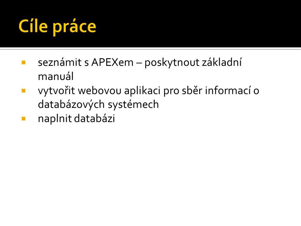  seznámit s APEXem – poskytnout základní manuál  vytvořit webovou aplikaci pro sběr informací o databázových systémech  naplnit databázi