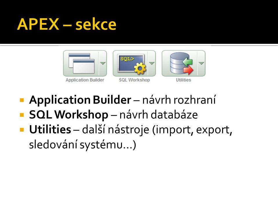  Application Builder – návrh rozhraní  SQL Workshop – návrh databáze  Utilities – další nástroje (import, export, sledování systému…)