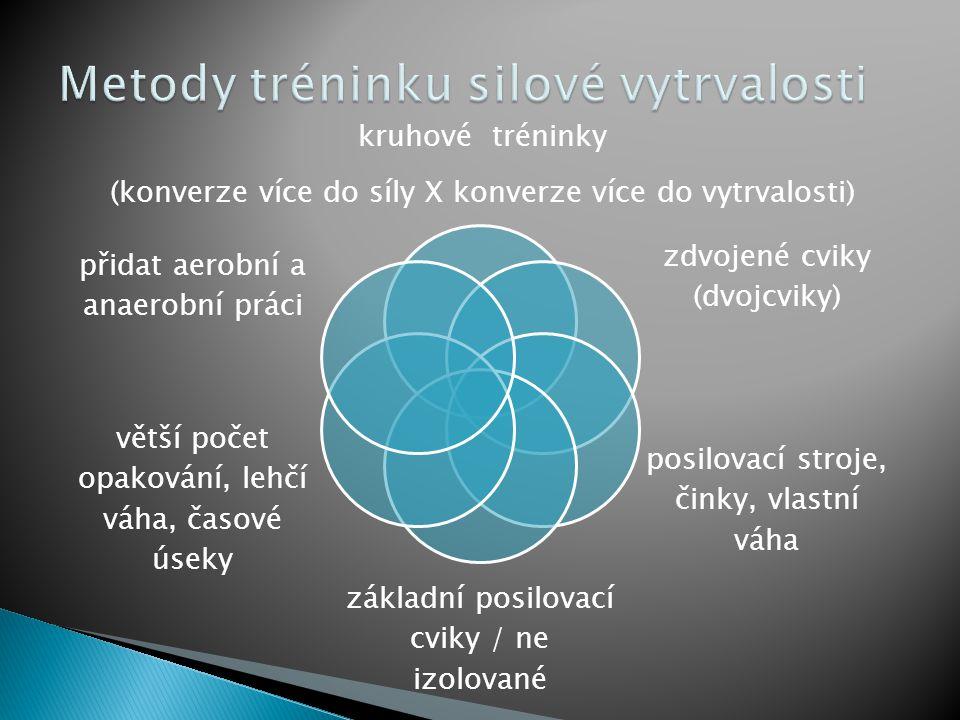 kruhové tréninky (konverze více do síly X konverze více do vytrvalosti) zdvojené cviky (dvojcviky) posilovací stroje, činky, vlastní váha základní pos