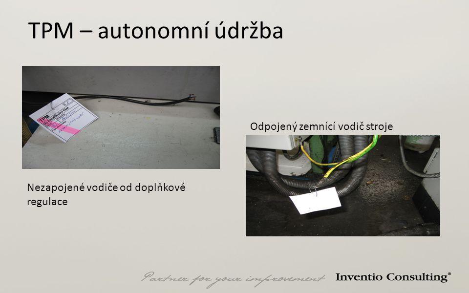 TPM – autonomní údržba Nezapojené vodiče od doplňkové regulace Odpojený zemnící vodič stroje