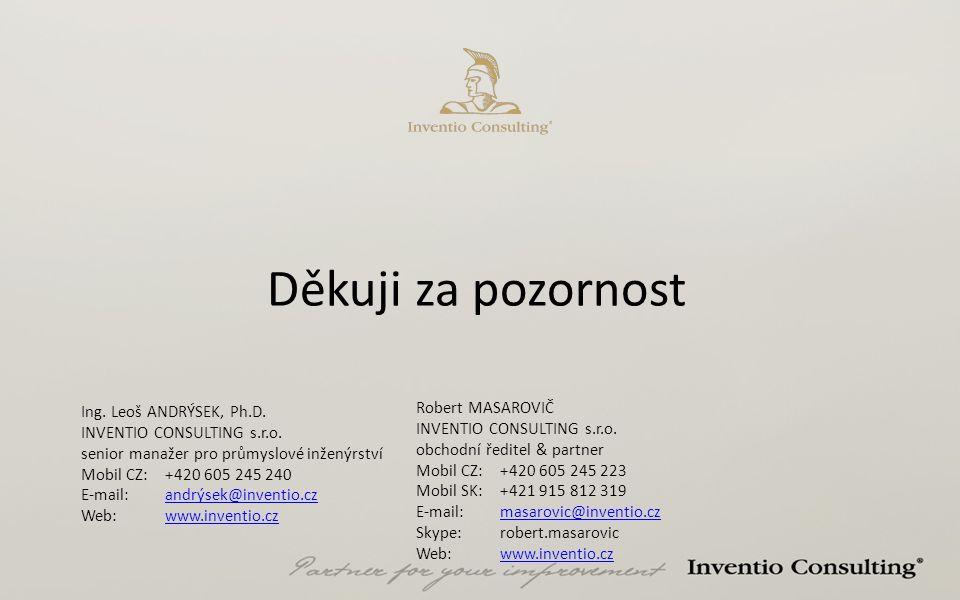 Děkuji za pozornost Ing. Leoš ANDRÝSEK, Ph.D. INVENTIO CONSULTING s.r.o. senior manažer pro průmyslové inženýrství Mobil CZ: +420 605 245 240 E-mail:a