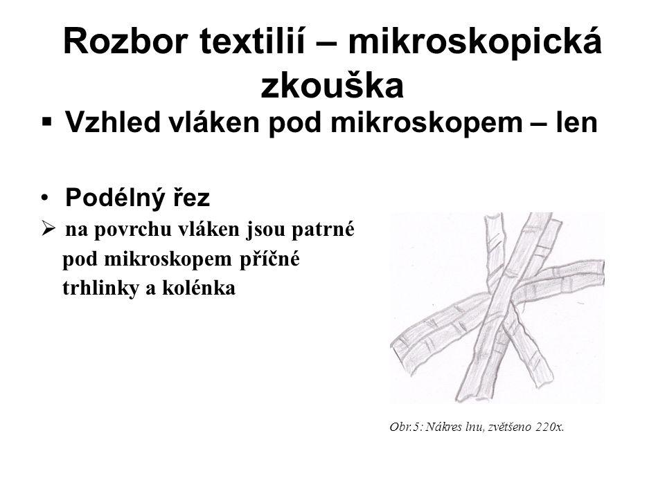 Rozbor textilií – mikroskopická zkouška  Vzhled vláken pod mikroskopem – len •Podélný řez  na povrchu vláken jsou patrné pod mikroskopem příčné trhlinky a kolénka Obr.5: Nákres lnu, zvětšeno 220x.