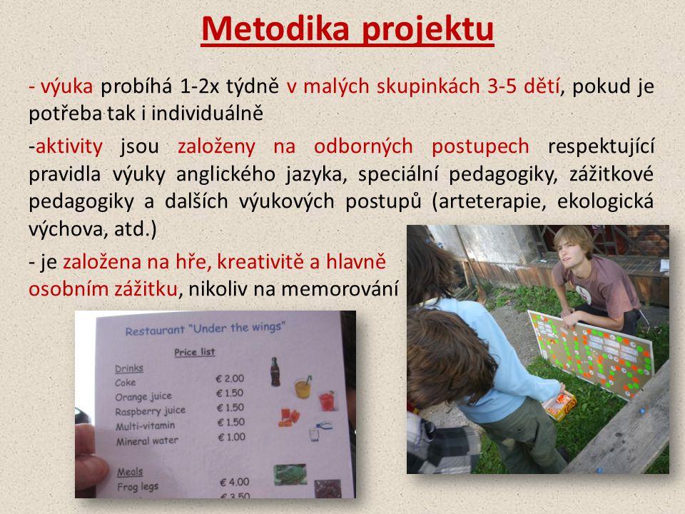 Metodika projektu - výuka probíhá 1-2x týdně v malých skupinkách 3-5 dětí, pokud je potřeba tak i individuálně -aktivity jsou založeny na odborných po