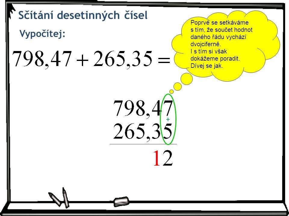 Sčítání desetinných čísel Vypočítej: + Poprvé se setkáváme s tím, že součet hodnot daného řádu vychází dvojciferně.