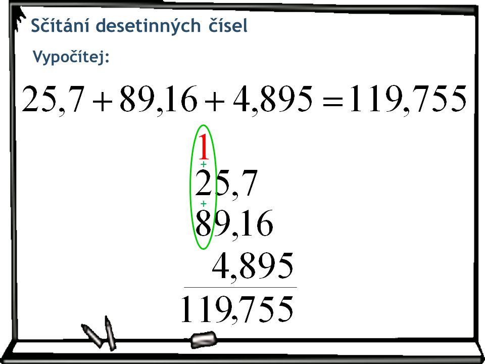 Sčítání desetinných čísel Vypočítej: + 1 +