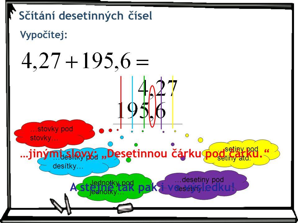 Sčítání desetinných čísel Vypočítej: Jednotky pod jednotky… …desítky pod desítky… …setiny pod setiny atd.