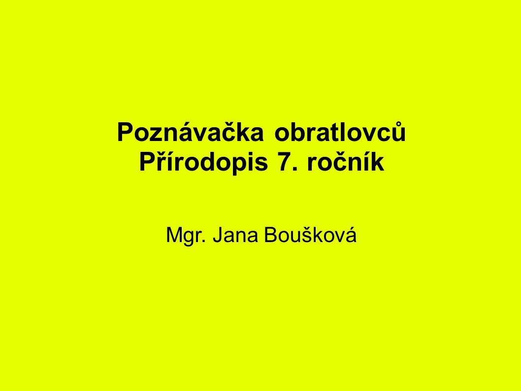 Poznávačka obratlovců Přírodopis 7. ročník Mgr. Jana Boušková