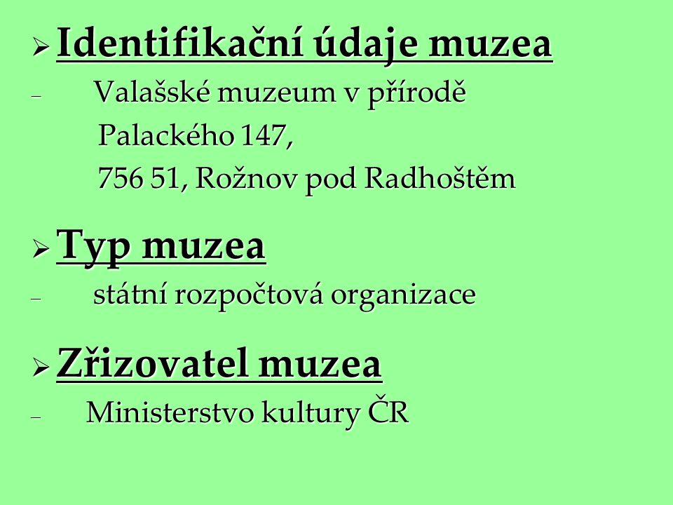  Identifikační údaje muzea  Valašské muzeum v přírodě Palackého 147, Palackého 147, 756 51, Rožnov pod Radhoštěm 756 51, Rožnov pod Radhoštěm  Typ