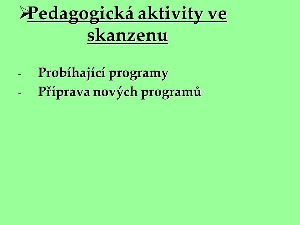  Pedagogická aktivity ve skanzenu - Probíhající programy - Příprava nových programů