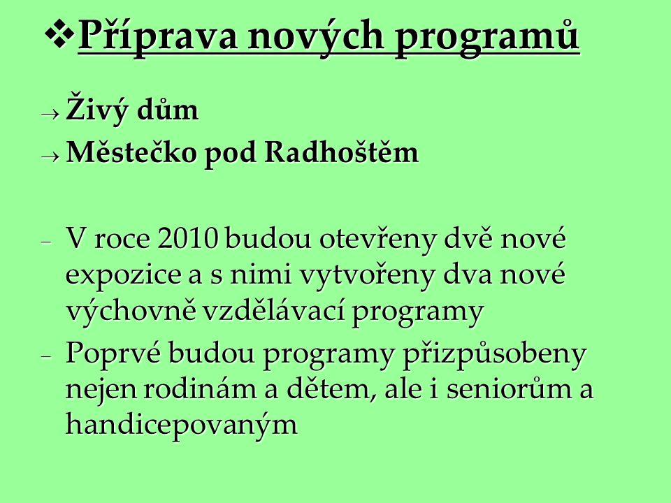  Příprava nových programů  Živý dům  Městečko pod Radhoštěm  V roce 2010 budou otevřeny dvě nové expozice a s nimi vytvořeny dva nové výchovně vzd