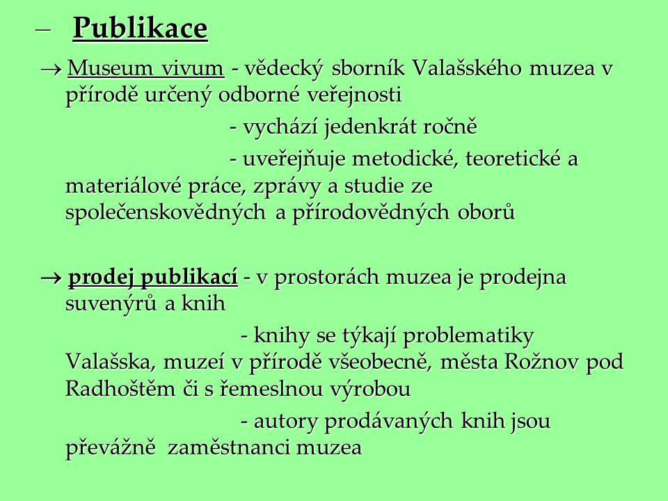– Publikace  Museum vivum - vědecký sborník Valašského muzea v přírodě určený odborné veřejnosti - vychází jedenkrát ročně - vychází jedenkrát ročně