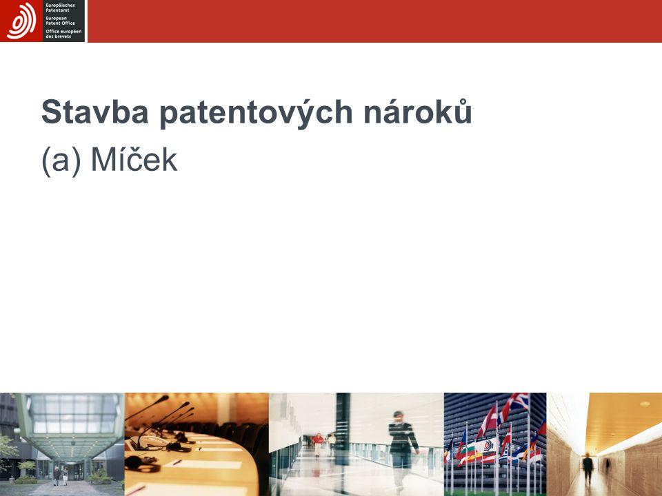 Stavba patentových nároků (a) Míček