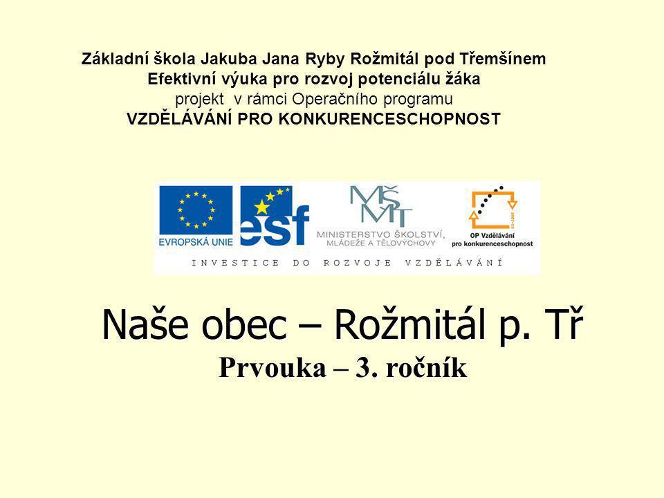 Název, poloha, obyvatelstvo •Naše město se jmenuje Rožmitál pod Třemšínem.
