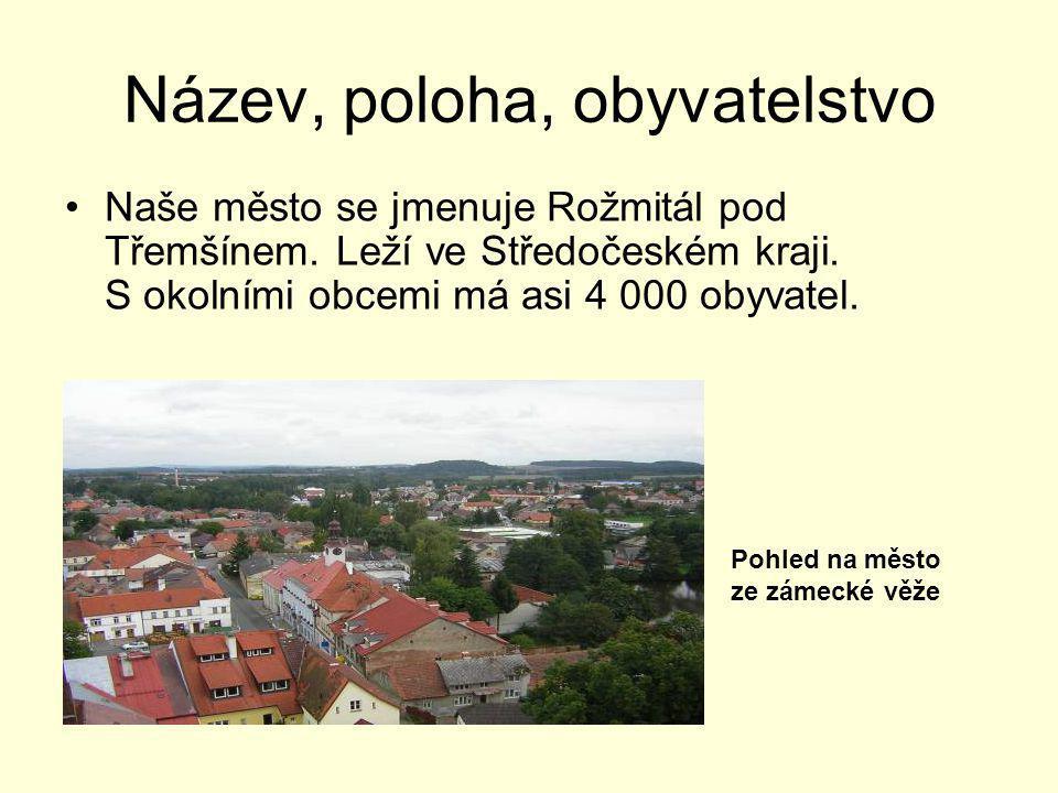 Název, poloha, obyvatelstvo •Naše město se jmenuje Rožmitál pod Třemšínem. Leží ve Středočeském kraji. S okolními obcemi má asi 4 000 obyvatel. Pohled