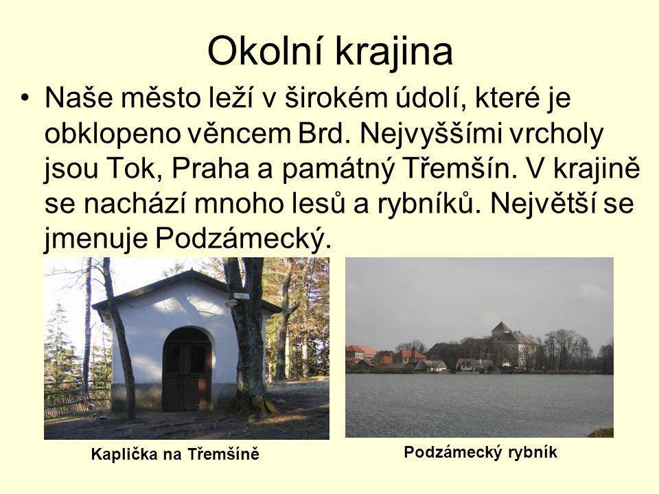 Okolní krajina •Naše město leží v širokém údolí, které je obklopeno věncem Brd. Nejvyššími vrcholy jsou Tok, Praha a památný Třemšín. V krajině se nac