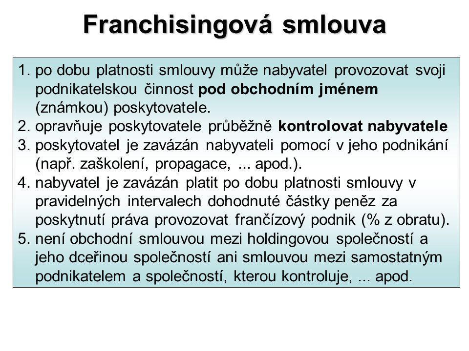 Franchisingová smlouva 1.po dobu platnosti smlouvy může nabyvatel provozovat svoji podnikatelskou činnost pod obchodním jménem (známkou) poskytovatele