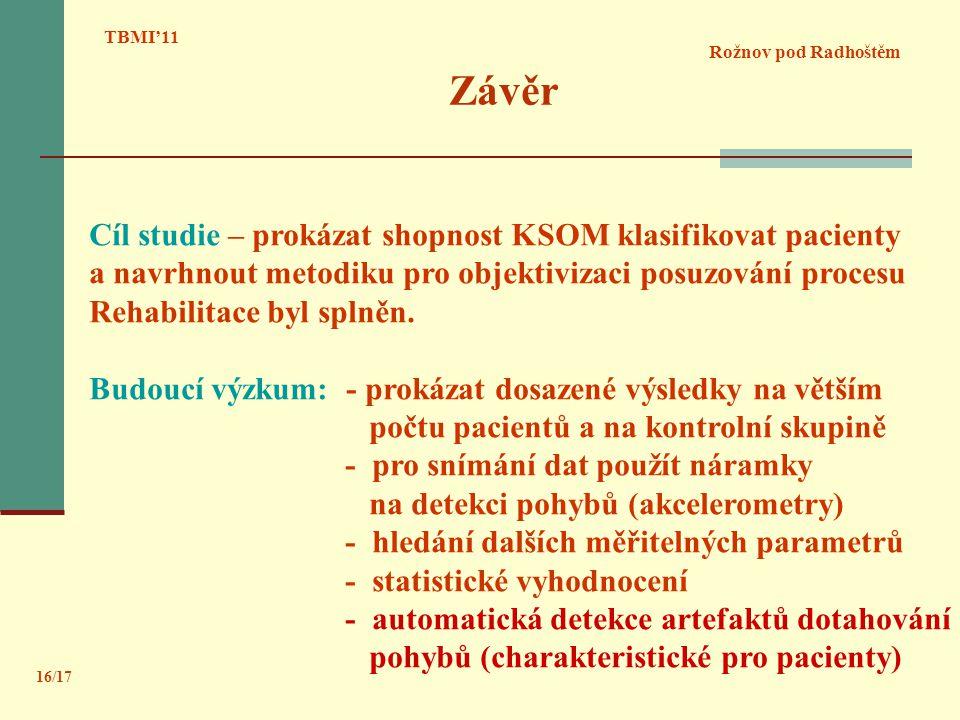 Závěr Rožnov pod Radhoštěm TBMI'11 16/17 Cíl studie – prokázat shopnost KSOM klasifikovat pacienty a navrhnout metodiku pro objektivizaci posuzování p