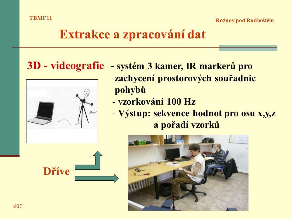 TBMI'11 Rožnov pod Radhoštěm 3D - videografie - systém 3 kamer, IR markerů pro zachycení prostorových souřadnic pohybů - vzorkování 100 Hz - Výstup: s