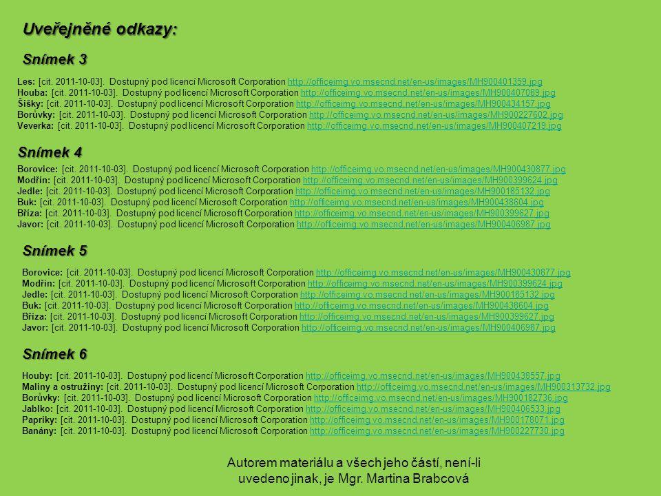 Autorem materiálu a všech jeho částí, není-li uvedeno jinak, je Mgr. Martina Brabcová Uveřejněné odkazy: Snímek 3 Les: [cit. 2011-10-03]. Dostupný pod