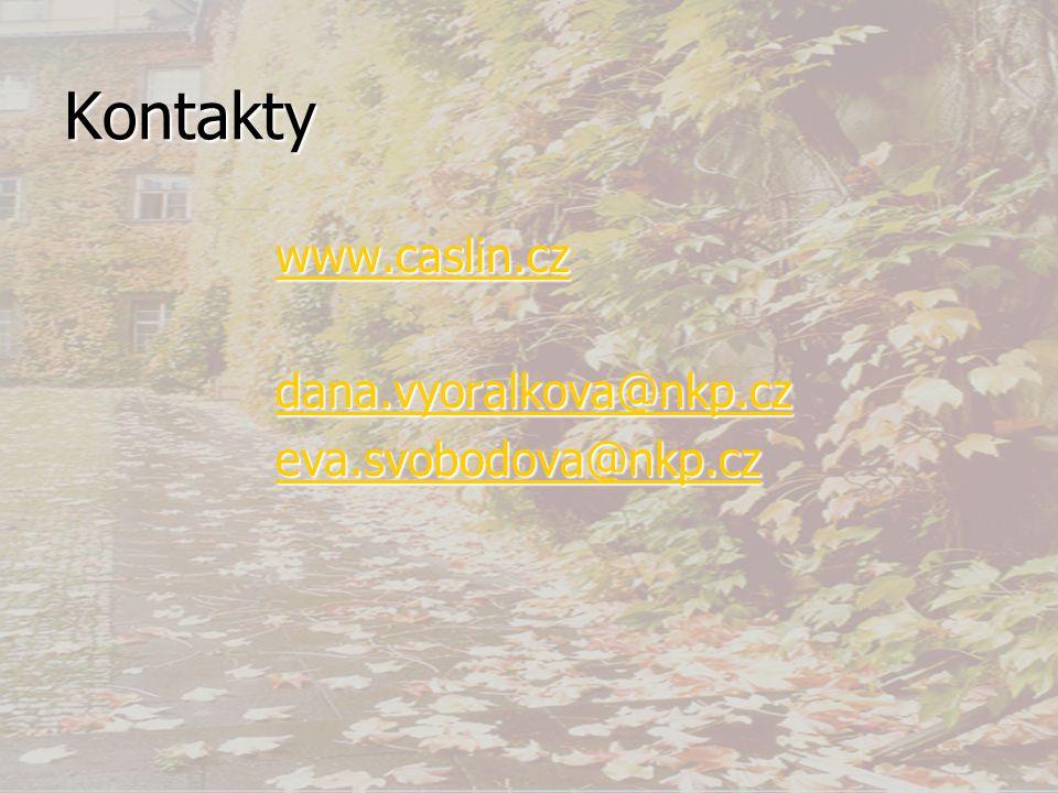 Kontakty www.caslin.cz dana.vyoralkova@nkp.cz eva.svobodova@nkp.cz