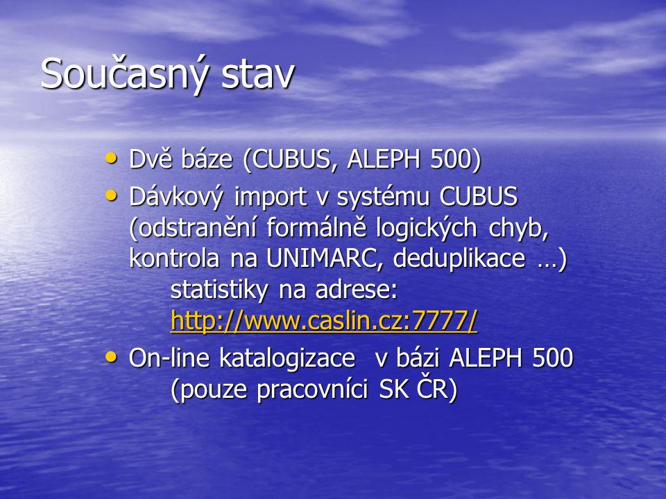 Současný stav • Dvě báze (CUBUS, ALEPH 500) • Dávkový import v systému CUBUS (odstranění formálně logických chyb, kontrola na UNIMARC, deduplikace …) statistiky na adrese: http://www.caslin.cz:7777/ http://www.caslin.cz:7777/ • On-line katalogizace v bázi ALEPH 500 (pouze pracovníci SK ČR)