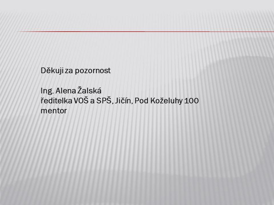 Děkuji za pozornost Ing. Alena Žalská ředitelka VOŠ a SPŠ, Jičín, Pod Koželuhy 100 mentor