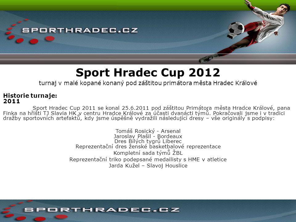 Sport Hradec Cup 2012 turnaj v malé kopané konaný pod záštitou primátora města Hradec Králové Historie turnaje: 2011 Sport Hradec Cup 2011 se konal 25