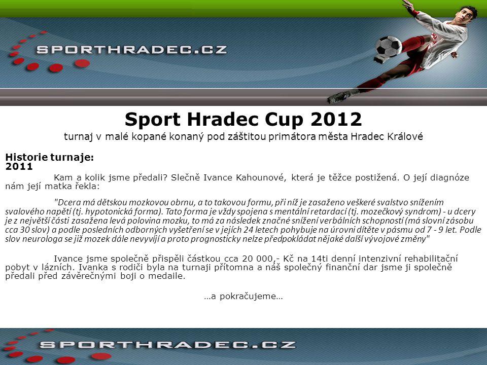 Sport Hradec Cup 2012 turnaj v malé kopané konaný pod záštitou primátora města Hradec Králové Historie turnaje: 2011 Kam a kolik jsme předali? Slečně