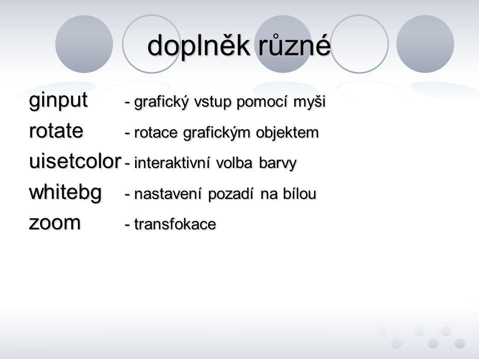doplněk různé ginput - grafický vstup pomocí myši rotate - rotace grafickým objektem uisetcolor - interaktivní volba barvy whitebg - nastavení pozadí na bílou zoom - transfokace
