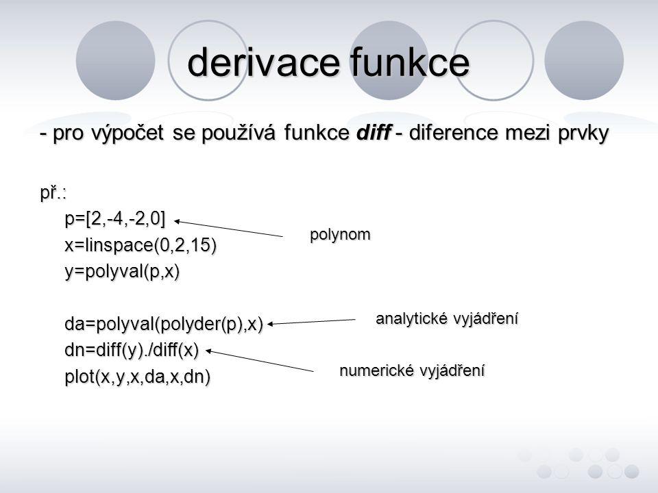 derivace funkce - pro výpočet se používá funkce diff - diference mezi prvky př.: p=[2,-4,-2,0] x=linspace(0,2,15)y=polyval(p,x)da=polyval(polyder(p),x