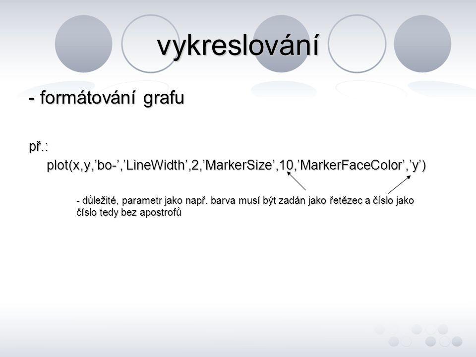 vykreslování - popiskyplot(x,y) title('titulek grafu') xlabel('popisek osy x') ylabel('popisek osy y') legend('cokoli','cokoli') - legenda se musí zadat pro všechny průběhy postupně text(x,y,'cokoli') - na zadanou pozici vepíše text gtext('cokoli') - text umístěný do grafu myší