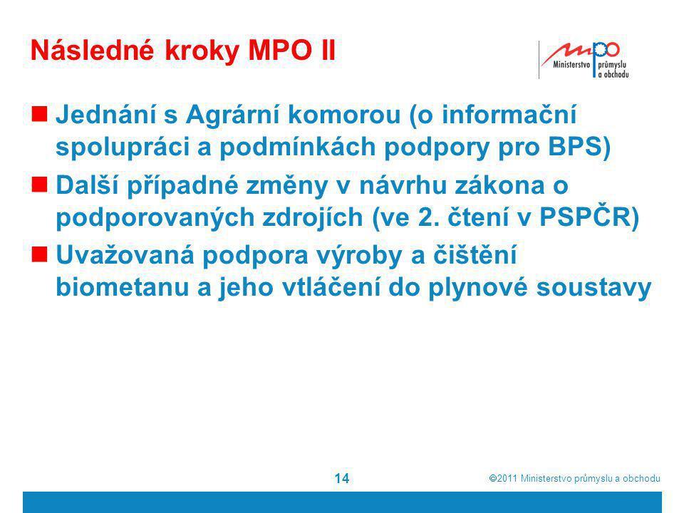  2011  Ministerstvo průmyslu a obchodu Následné kroky MPO II  Jednání s Agrární komorou (o informační spolupráci a podmínkách podpory pro BPS)  Další případné změny v návrhu zákona o podporovaných zdrojích (ve 2.