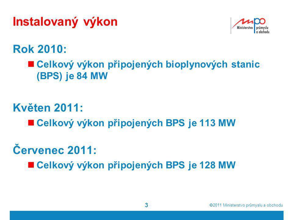  2011  Ministerstvo průmyslu a obchodu Instalovaný výkon Rok 2010:  Celkový výkon připojených bioplynových stanic (BPS) je 84 MW Květen 2011:  Celkový výkon připojených BPS je 113 MW Červenec 2011:  Celkový výkon připojených BPS je 128 MW 3