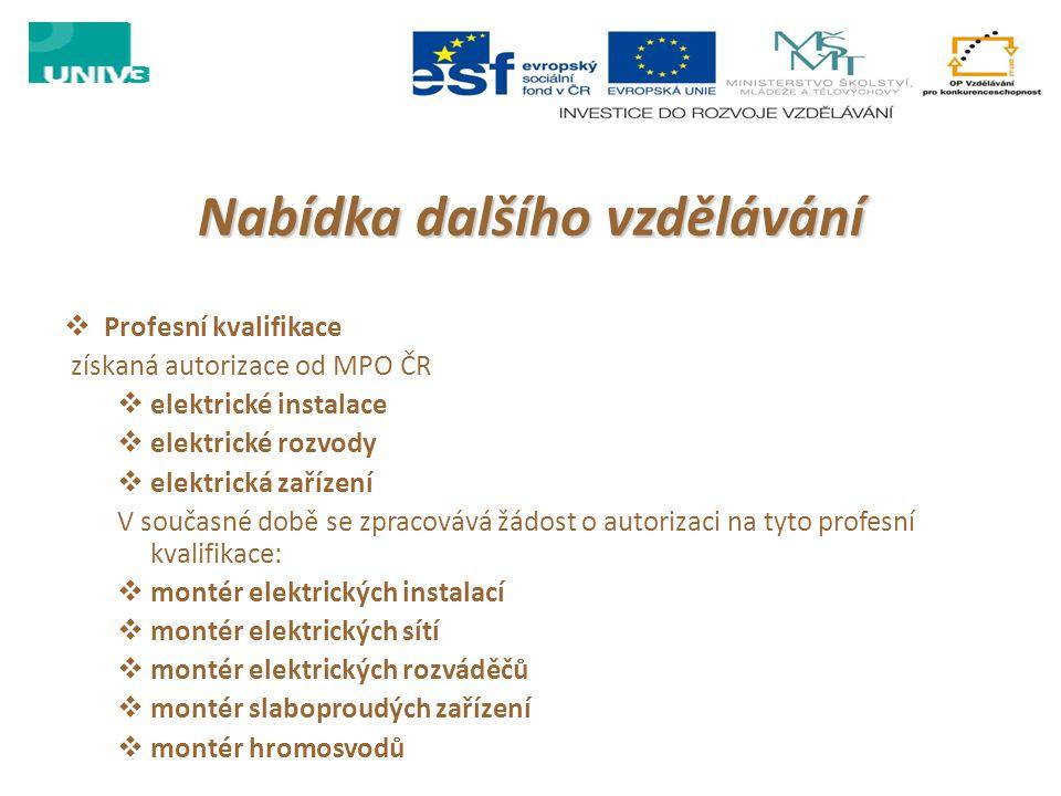 Nabídka dalšího vzdělávání  Profesní kvalifikace získaná autorizace od MPO ČR  elektrické instalace  elektrické rozvody  elektrická zařízení V sou