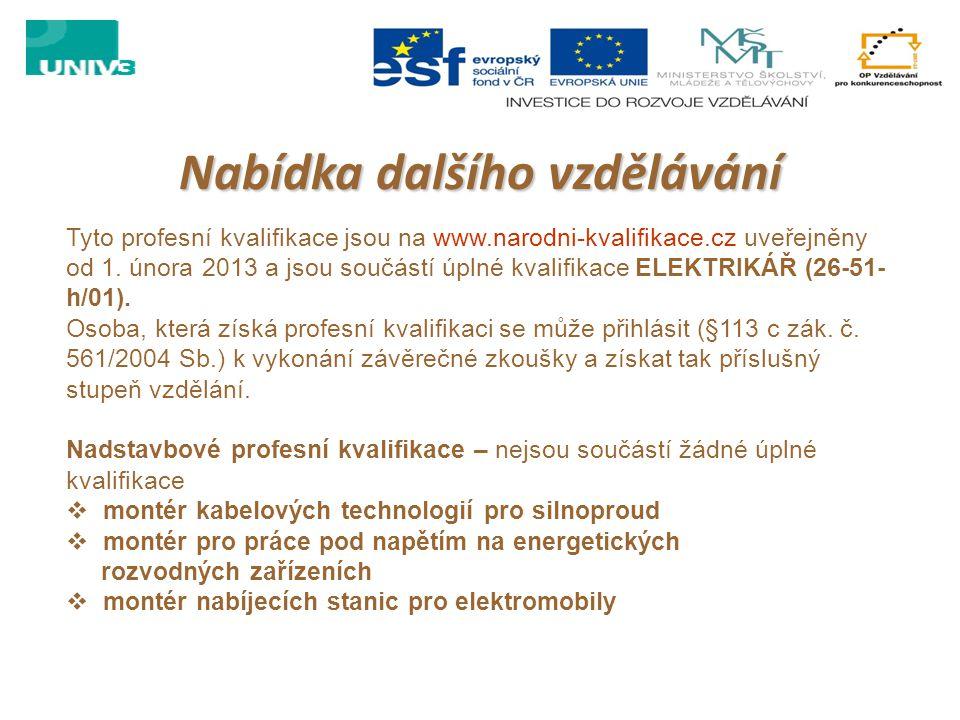 Nabídka dalšího vzdělávání Tyto profesní kvalifikace jsou na www.narodni-kvalifikace.cz uveřejněny od 1. února 2013 a jsou součástí úplné kvalifikace