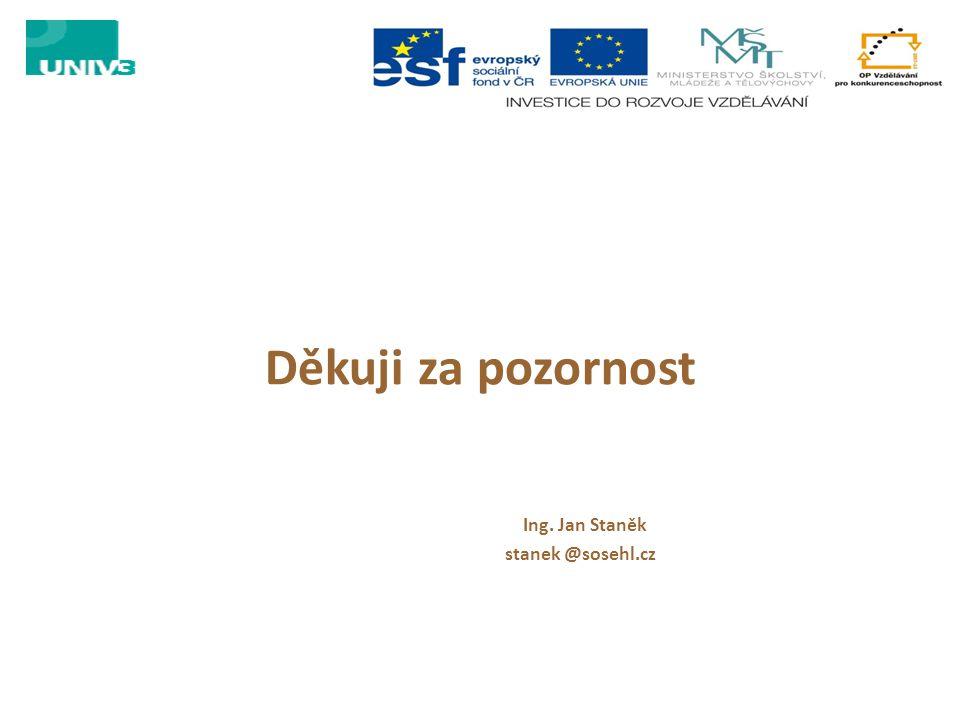 Děkuji za pozornost Ing. Jan Staněk stanek @sosehl.cz